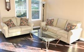 Lovely Beige Sofa and Loveseat - Glass top coffee table