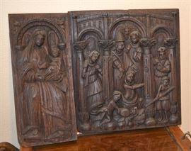 Antique Carved OAK religious wall hangings