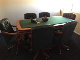 Poker/Gaming Table & 6 rolling Chairs