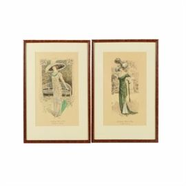 """Collection of Hand Colored Lithographs on Paper """"Les Grandes Modes de Paris"""": A pair of hand colored lithographs on paper. This pair includes two prints, one titled Les Grandes Modes de Paris, Toilette de Chateau and one titled Les Grandes Modes de Paris, Toilette de Courses. Both prints feature an illegible in-plate signature and both are presented in wooden frames under glass."""