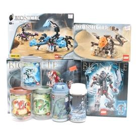 "Lego ""Bionicle"" Sets: A group of Lego Bionicle sets. The group includes four kits and five assembled figures."