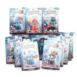 Megaman Action Figures: A collection thirteen of Megaman action figures in their original factory packaging.