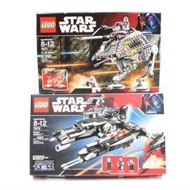"Lego ""Star Wars"" 7671 ""AT-AP Walker"" and 7672 ""Rogue Shadow"": A pair of Lego Star Wars building kits. Included is 7671 AT-AP Walker and 7672 Rogue Shadow."