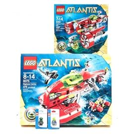 "Lego ""Atlantis"" Sets 8075 and 8060: A pair of Lego ""Atlantis"" sets. The group includes 8075 Neptune Carrier and 8060 Typhoon Turbo Sub."