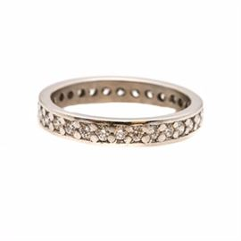 Platinum Diamond Eternity Ring Band: A high polish platinum 0.75 ctw diamond eternity ring band.