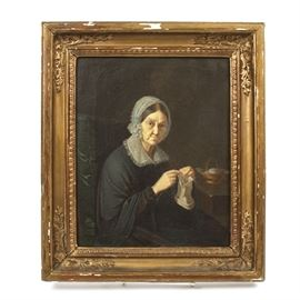 Antique Oil Portrait on Canvas: An original, nineteenth-century oil painting portrait on canvas by an anonymous artist. The unsigned portrait depicts an elderly brown-eyed woman wearing a lace cap and collar over a black dress. She gazes sternly at the viewer, as she plies her knitting needles. The painting is presented in an ornate antique gilded wood frame with a hanging wire on the back.