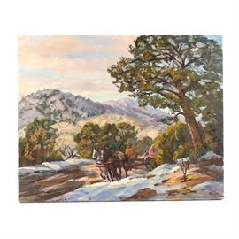 "Ed Hummer Oil Painting on Canvas ""New Mexico Spring"": An oil painting on canvas titled New Mexico Spring by American artist Judge Ed J. Hummer (20th Century). This piece depicts a spring day in the mountains of New Mexico, with snow on the ground melting in patches and a figure riding a horse-drawn cart along a dirt road. It is painted with visible, textured brushstrokes and signature carved into the paint in the lower right. The work is titled to the verso and includes a pamphlet with information on the artist. This piece is presented as an unframed, stretched canvas."