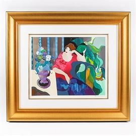 "Serigraph by Itzchak Tarkay ""Elaborate Surroundings"": A framed, signed and numbered limited edition serigraph Elaborate Surroundings, by artist Itzchak Tarkay (1935-2012). It is numbered 91/450 and presented with a white mat and glass in a gilded wood frame. Ready to hang."