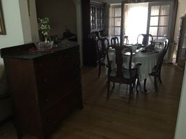 Dining room table, chairs, china cabinet and decor!