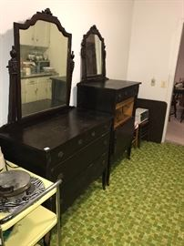 ANTIQUE DRESSER AND MATCHING SECRETARY DRESSER WITH MIRRORS