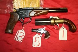 13 - THOMPSON CONTENDER SINGLE 5 - GERMANY SINGLE SINGLE 22 1 - CMC PEPPERBOX REVOLVER 36