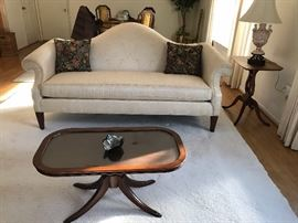 Hump Back Sofa, Side Tables, Lamp, Pillows