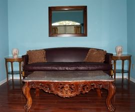James River Hickory Chair NC leather sofa, marble top coffee table