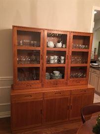 Fabulous Vintage Lighted Mid Century Teak Display Cabinet