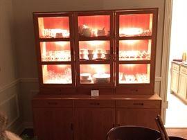 Lighted Teak Display Cabinet