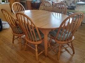 Amish wood kitchen table set with matching barstools (and 2 leafs not pictured!)