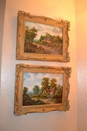 Pair of antique British Landscape painting in antique frames - signed C. Stopford