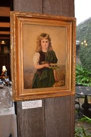 Fritz Beinke oil on canvas, antique framed portrait of a girl