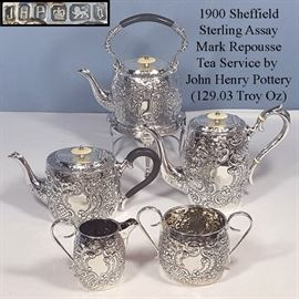 Stering Silver 1900 Sheffield Assay John Henry Potter Sterling Tea Service
