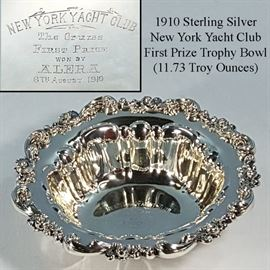 Sterling Silver New York Yacht Club 1910 First Prize Trophy Bowl