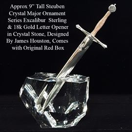 Crystal Steuben Excalibur Sterling Silver 18k Yellow Gold Letter Opener With Box A