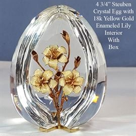 Crystal Stuben Egg With Enameld 18k Gold Lilies Original Box