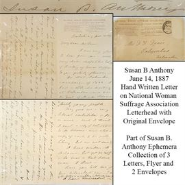 Ephemera Susan B Anthony Letter Two