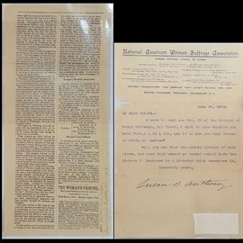 Ephemera Susan B Anthony Letter Three