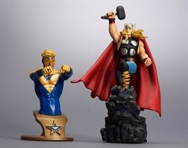 Offered is a lot of 2 superhero statues: Booster Gold Bust from DC Collectibles, and The Mighty Thor from Bowen Designs. The boxes show normal shelf wear but the figures are undamaged. Please see the photos at completeset.com for details.