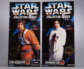 "Offered is a lot of two 12"" Collector Series figures from Kenner: Princess Leia and Luke Skywalker in X-Wing Gear. The boxes show minor shelf wear. Please see the photos at completeset.com for details."
