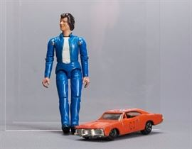 Offered is a lot of 2 toys from The Dukes of Hazard. They are unboxed and show moderate shelf wear. The car is very scuffed and dented. Please see the photos at completeset.com for details.
