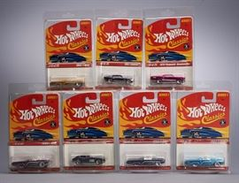 Offered is a lot of 7 Hot Wheels Classics. The plastic cases are bit scratched and yellowed. Please see the photos at completeset.com for details.