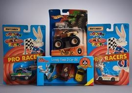 Offered is a lot of 4 Looney Tunes cars from Matchbox, Hot Wheels, and Racing Champions: Bugs Bunny Race Car, Daffy Duck Car, Taz Monster Truck, and Looney Tunes 3 Car Set. The packages are moderately worn and faded but the toys are undamaged. Please see the photos at completeset.com for details.