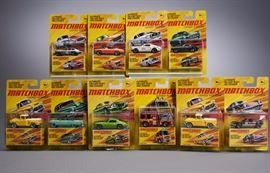 Offered is a lot of 10 carded Lesney Edition Matchbox cars with minor shelf wear. The bubble of the '57 GMC Stepside is detached from the card. Please see the photos at completeset.com for details.