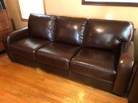 Leather Coach Sofa, Chair and Ottoman