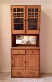 Mission-style Hutch w/glass Doors and Storage