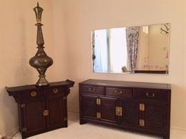 Asian Sideboards and a 5'H metal Middle Eastern lamp