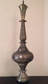 Metal Middle-eastern style Lamp is about 5'H
