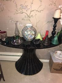 MODERN HALF MOON TABLE AND BEAUTIFUL HOME ACCENTS