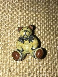 STERLING SILVER ENAMEL BEAR BROOCH