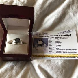 4.18CT BLACK DIAMOND RING