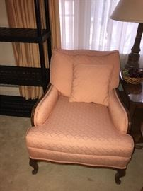 PEACH UPHOLSTERED LOUNGE CHAIR