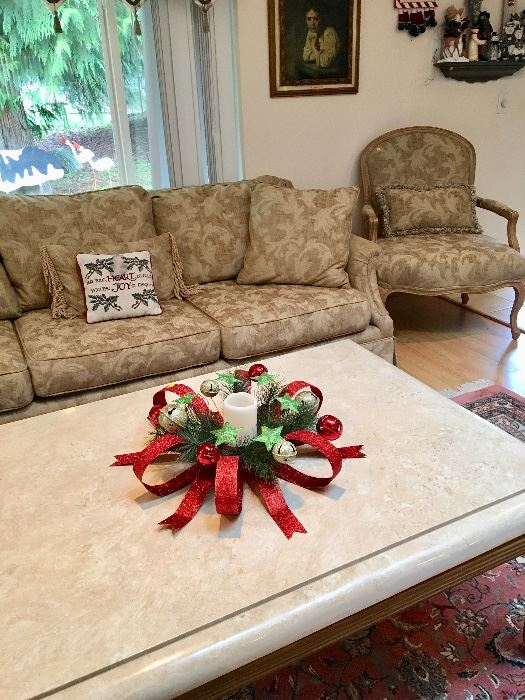 Marble Top Coffee Table  Sofa   Arm Chairs. Estate Tag Sale Inside Private Home in Puyallup  WA starts on 12