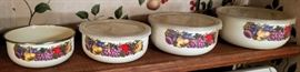 Enamelware With Lids Cornucopia Fruit Design