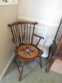 6 Cherry Windsor Dining Chairs, 5 sides & 1 arm, $650.00