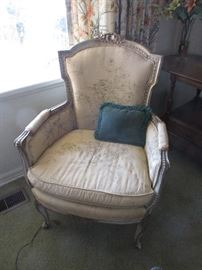 Gold silk 1920s French Style arm chair, $275.00