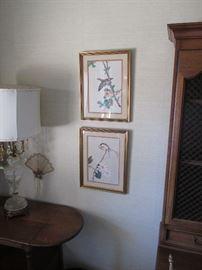 Pr.  Oriental bird woodblock prints, $150.00