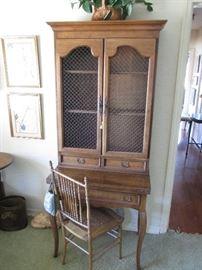 French style Mahogany finished secretary w/wire door panels $400.00