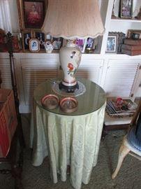 Oriental style lamp $75.00, round decorator table $45.00