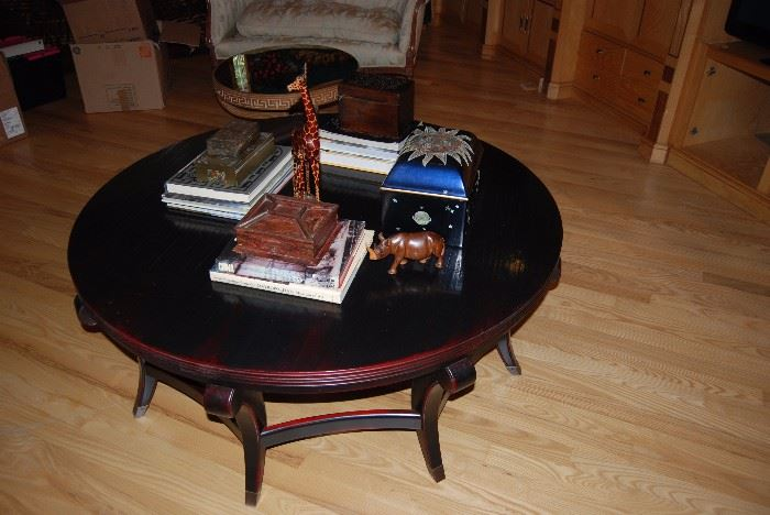 5 Foot round Ebony coffee table from Glabmans